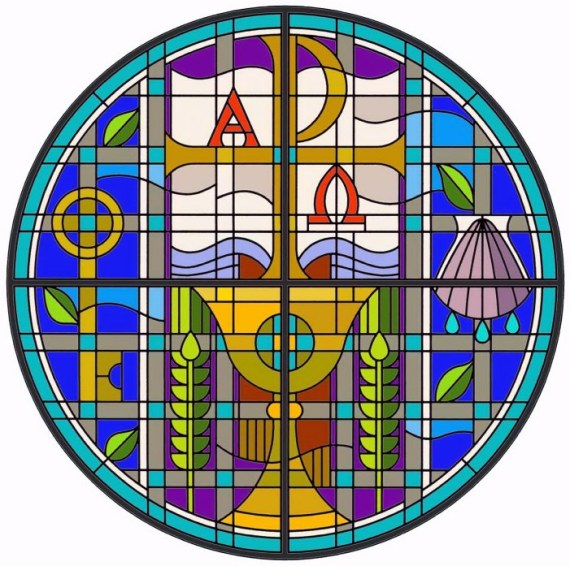 Word and Sacrament stained glass. Photo: http://heremembersthebarren.com